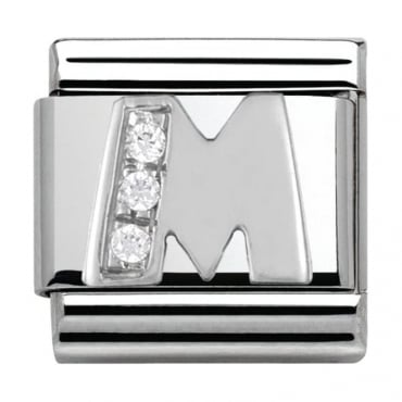 Classic Silver Letter M - Crystal