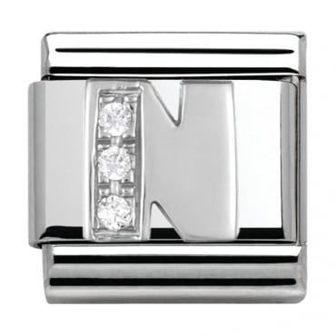 Classic Silver Letter N - Crystal