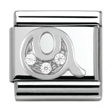Classic Silver Letter Q - Crystal