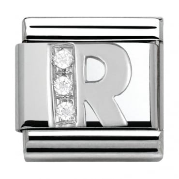 Classic Silver Letter R - Crystal