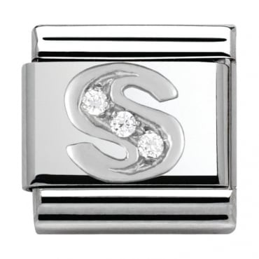 Classic Silver Letter S - Crystal