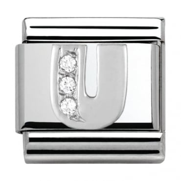 Classic Silver Letter U - Crystal