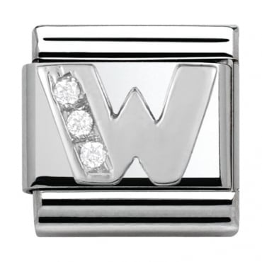 Classic Silver Letter W - Crystal