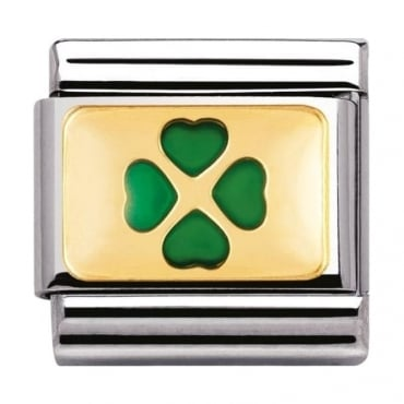 Nomination Classic Gold Green Four Leaf Clover - 03020501