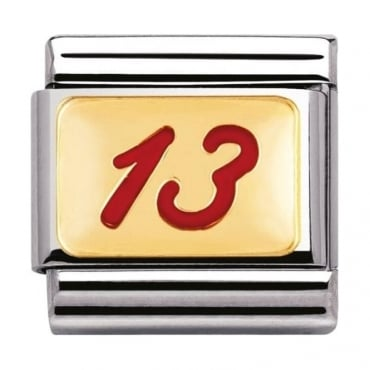 Nomination Classic Gold and Enamel Red 13 Charm