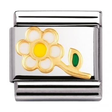 Nomination Classic gold and Enamel White and Yellow Flower Charm
