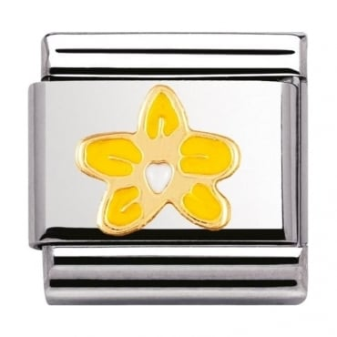 Nomination Classic Gold and Enamel Orchid Charm