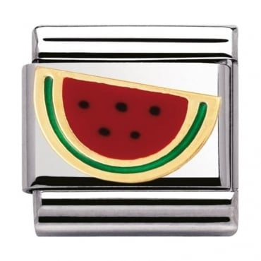 Nomination Classic Gold and Enamel Watermelon Charm