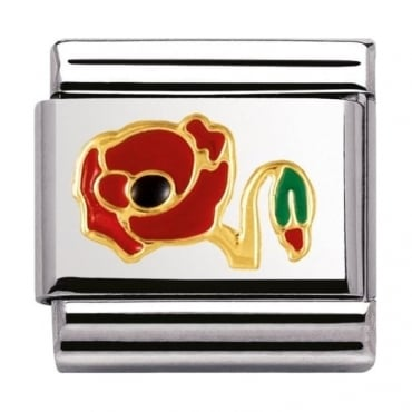 Nomination Classic Gold Poppy Charm - 03027811