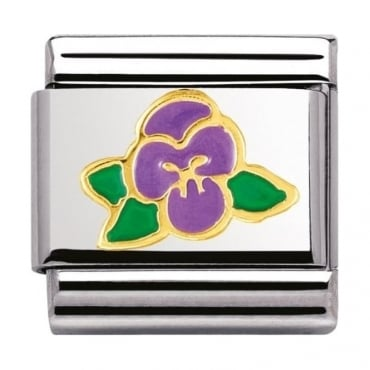 Nomination Classic Gold Violet Charm - 03027815