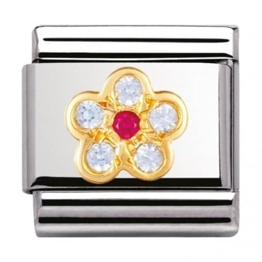 Nomination Classic Gold and Cubic Zirconia Light Blue and Red Flower Charm