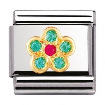 Nomination Gold and Cubic Zirconia Green and Red Flower Charm