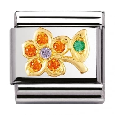 Nomination Classic Gold Nature Orange And Blue Flower Charm - 03031802