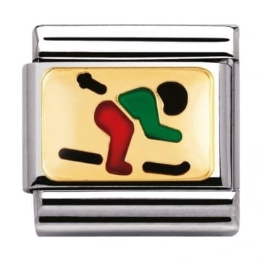 Nomination Classic Gold and Enamel Skiing Charm
