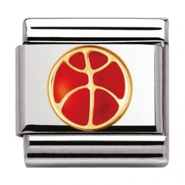 Nomination Classic Gold and Enamel Basketball Charm