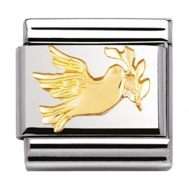 Classic Gold Dove With Olive Branch Charm