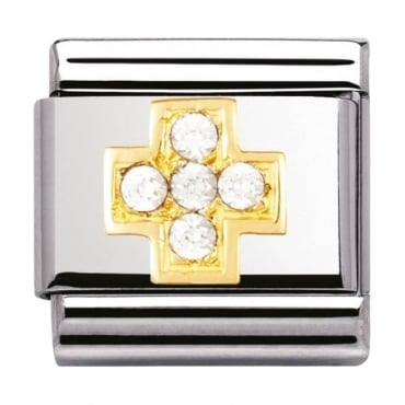 Classic Gold White Cross Charm - 03030701