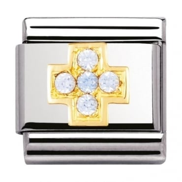 Nomination Classic Gold Light Blue Cross Charm - 03030705