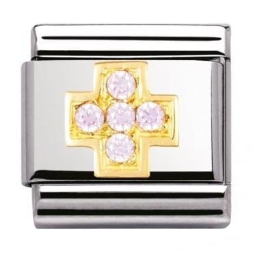 Nomination Classic Gold Pink Cross Charm - 03030706