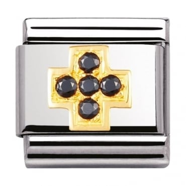 Nomination Classic Gold Black Cross Charm - 03030710