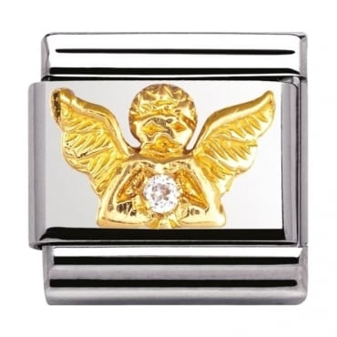 Classic Gold Angel Crystal Charm - 03030723