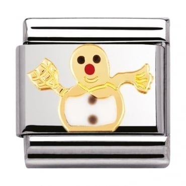Classic Gold and Enamel Snowman Charm