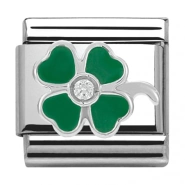 Classic Silver Daily Life Green Four-Leaf Clover