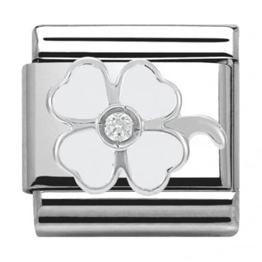 Classic Silver Daily Life White Four-Leaf Clover
