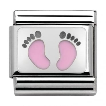Nomination Classic Silver My-Family Pink Footprints