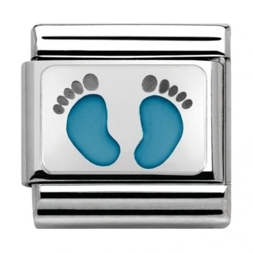 Nomination Classic Silver My-Family Light Blue Footprints