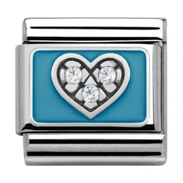 Classic Silver My-Family CZ Heart with Light Blue
