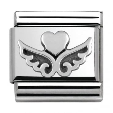 Classic Silver My-Angel Flying Heart