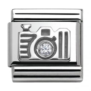 Classic Silver Around The World Camera with CZ