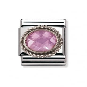Nomination Silver Pink Faceted Cubic Zirconia Charm