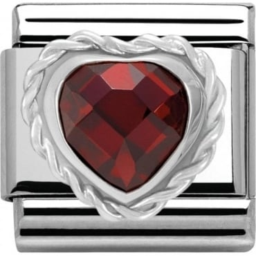 Nomination Silver Red Heart Cubic Zirconia Charm