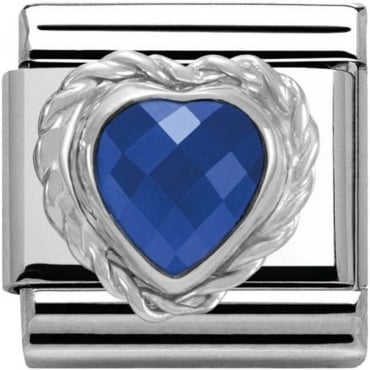 Nomination Silver Blue Faceted Heart Charm