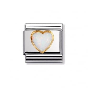 Nomination White Opal Heart Stones Charm