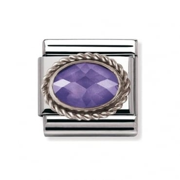 Nomination Classic Silver Violet Gemstone Charm