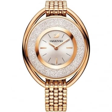 LADIES CRYSTALLINE OVAL ROSE GOLD TONE BRACELET WATCH 5200341