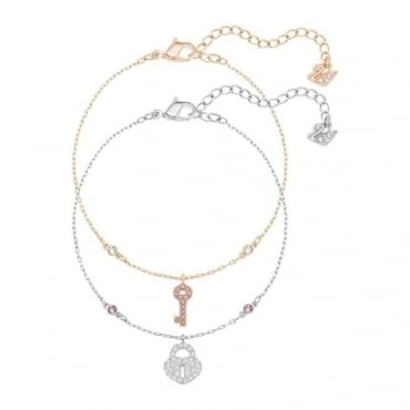 Swarovski Crystal Wishes Key Bracelet Set, Pink