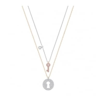 Swarovski Crystal Wishes Key Pendant Set, Pink