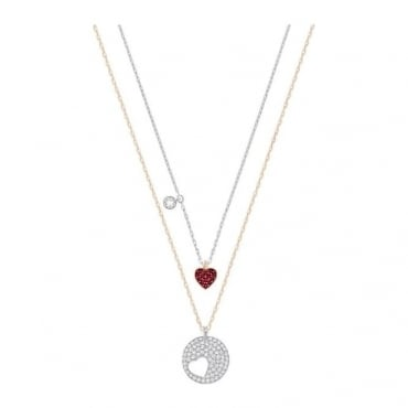 Swarovski Crystal Wishes Heart Pendant Set, Red