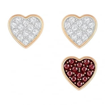 Swarovski Crystal Wishes Heart Pierced Earring Set, Red