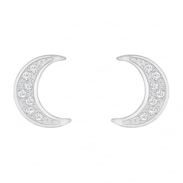 Swarovski Crystal Wishes Moon Pierced Earrings, White