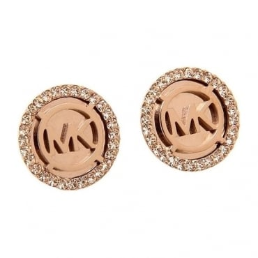 Michael Kors Jewellery MK Rose Gold Logo Earrings