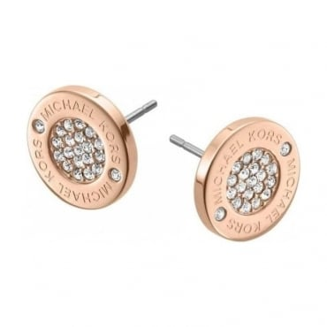 Rose Gold Pave Set Crystal Earrings