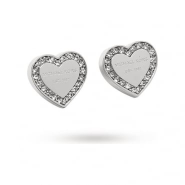 Michael Kors Jewellery Silver Heritage Heart Earrings - MKJ3966040