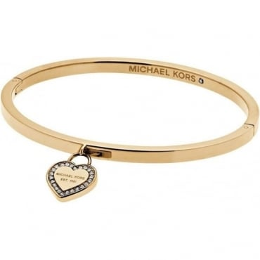 Gold Tone Heritage Heart Bangle