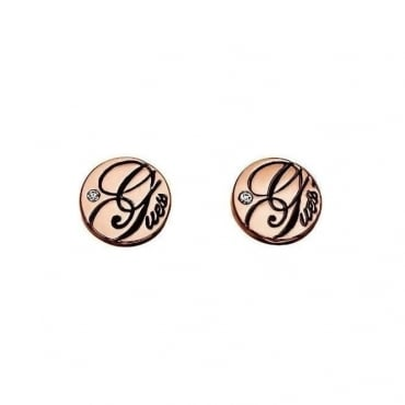 Guess Jewellery Rose Gold Logo Stud Earrings