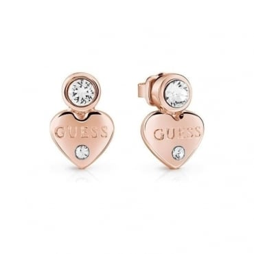 Guess Jewellery Rose Gold Heart Drop Earrings